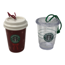 Starbucks Cups Christmas Ornaments 2004 2009 Plastic Ceramic Red Clear S... - $20.89
