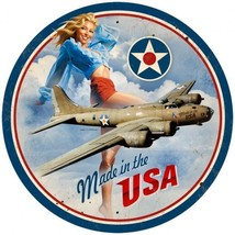 "Made In USA Pin-Up Greg Hildebrandt 14"" Round Metal Sign - $30.00"