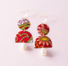 Boho Chic Glam Gold Tone Red Pink Recycled Vintage Tin Pearl Dangle Earrings - $12.00