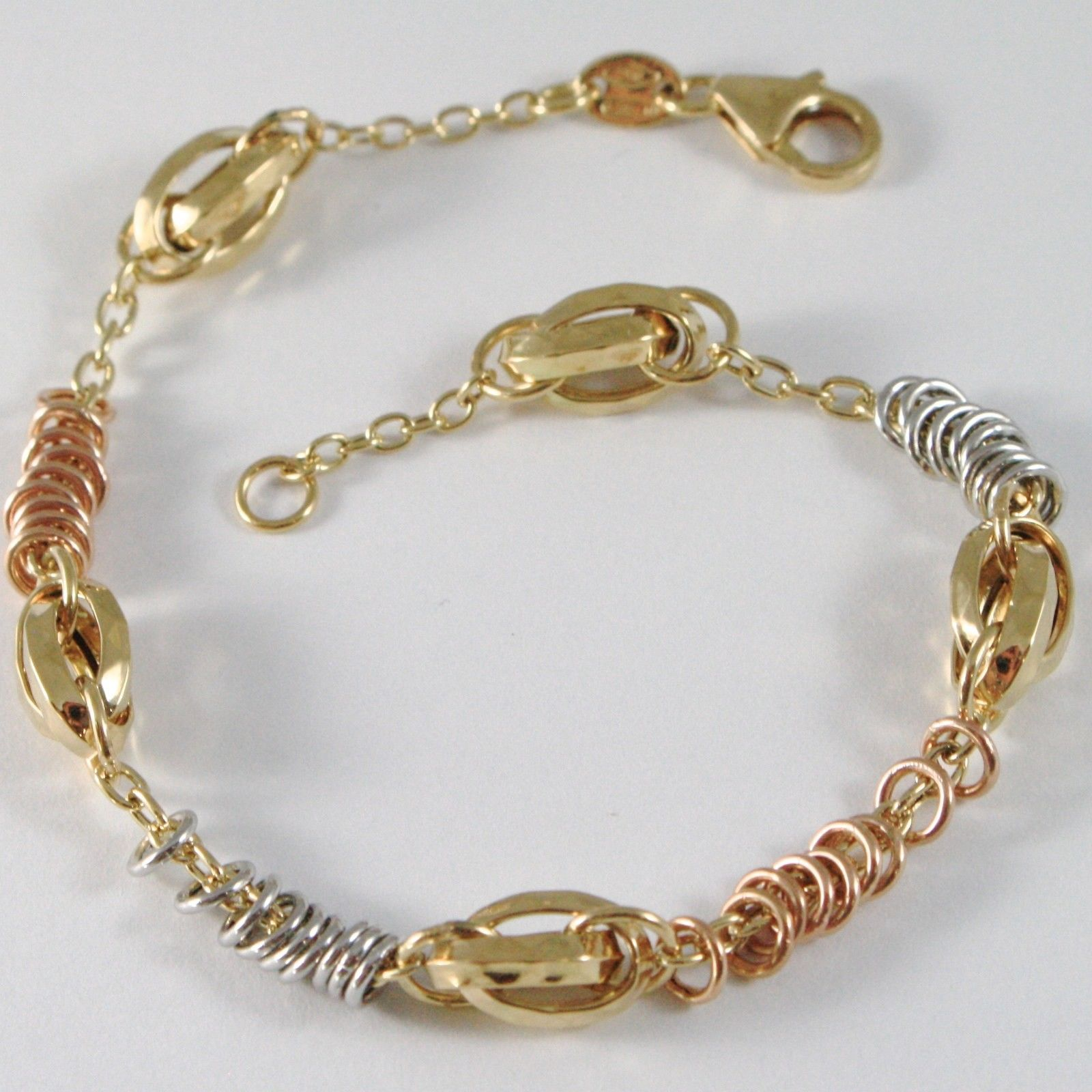 18k YELLOW WHITE ROSE GOLD BRACELET, ROLO, CIRCLES AND WORKED OVALS, ITALY MADE