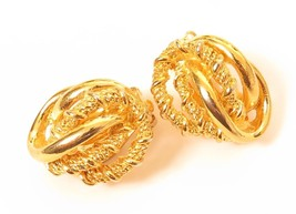 Vintage Signed Ellen Designs Gold Plated Knotted Design Clip-on Earrings... - $19.79