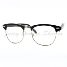 Clear Lens Eyeglasses Club Keyhole Half Horn Rimmed Frame - $9.95