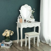 Dressing Table Set Swivel Mirror Stool Drawers Vintage Makeup Beauty Bed... - $213.97