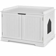 Cat Litter Box Wooden Enclosure Pet House Sidetable Washroom-White - Col... - $211.42