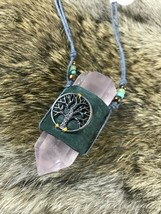 Tree of Life Necklace- rose quartz crystal point- pagan primitive wicca - $33.85