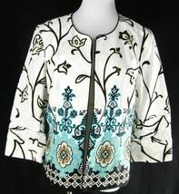 COLDWATER CREEK Brocade Border Print Jacket 14 L Artsy Career Blazer Ope... - $23.19