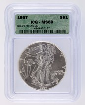 1997 $1 Silver American Eagle Graded by ICG as MS-69 - $49.49