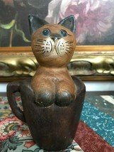 Wooden Handcrafted Thailand Cat in a Cup Statue 6 Inch Rare - $124.69