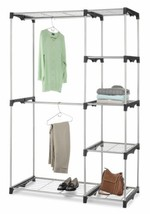 Hanging Rod 5 Shelves Closet Frame Wardrobe Clothes Garment Rack Space S... - $99.89