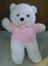 "White Pink ""It's a Girl"" Baby Stuffed Bear Animal Toy 11"" Tall Oshko  - $3.95"