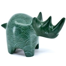 Tabaka Chigware Hand Carved Kisii Soapstone Green Rhinoceros Rhino Figure Kenya
