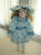 """Vintage, Dynasty Doll Collection, 16"""" Porcelain Doll in Victorian Blue Gown - $18.95"""