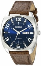 Seiko Men's SNKN37 Stainless Steel Automatic Self-Wind Watch  Brown Leather Band - $164.99