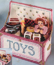 "1992 Bucilla Plastic Canvas Needlepoint Kit #6098 Toy Chest NEW 8"" x 7.5"" - $24.26"