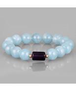 Aquamarine & Amethyst Smooth Beaded Gemstone Handmade Stretch Bracelet f... - $37.99