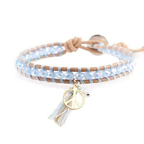 Great Gift for Girls Fashion Bracelet with Pendant Leather Cord Bracelet [Blue]