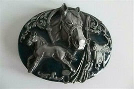 Horse Belt Buckle Siskiyou Pewter K-80 1988 Horse Show Shoe Saddle - $14.84