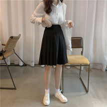 Women Black Pleated Skirt Outfit Plus Size Black Tennis Skirt image 7