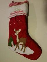 Pottery Barn Christmas Stocking Lola 1st Christmas gingham reindeer Rudo... - $19.79