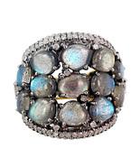 7.95Ct Labradorite Gemstone 14K Gold Diamond Silver Studded Vintage Wedd... - $409.30