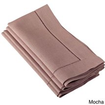 Fennco Styles Hemstitched Dinner Napkin, Set of 4 (mocha) - $24.74