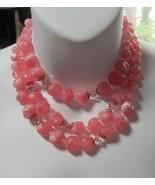 Vintage Triple Strand Soft Pink Bead Necklace Estate Find - $55.00