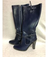BCBG MAXAZRIA  SHOES Tall Boots Faux Leather Navy Blue zipper   Size: 8B... - $56.09
