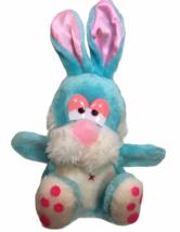 Vintage MTY International Blue Bunny Rabbit Plush Puppet Pink Satin Ears... - $59.00