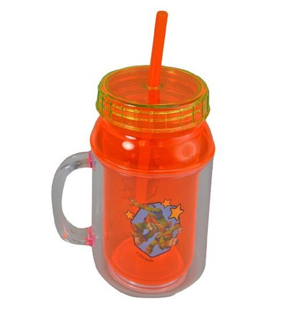 Primary image for Nickelodeon TMNT Ninja Turtle 12oz Canning Jar Double Walled Lid & Straw Tumbler