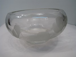 Mary B White ETCHED Studio Art Glass Crystal Bowl - $7.31