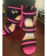 Qupid Size 5.5 Pink And Black High Heels New - $64.56