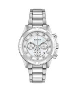 Bulova 96P190 Ladies Diamond Accented Chronograph Stainless Steel Watch MOP Dial - $89.09