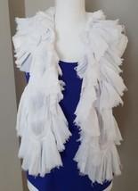 RALPH LAUREN PURPLE COLLECTION Scarf 100% Cotton White Ruffle Fashion Ma... - $64.34