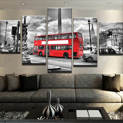Framed 5 Piece Double Decker Canvas Print Painting Wall