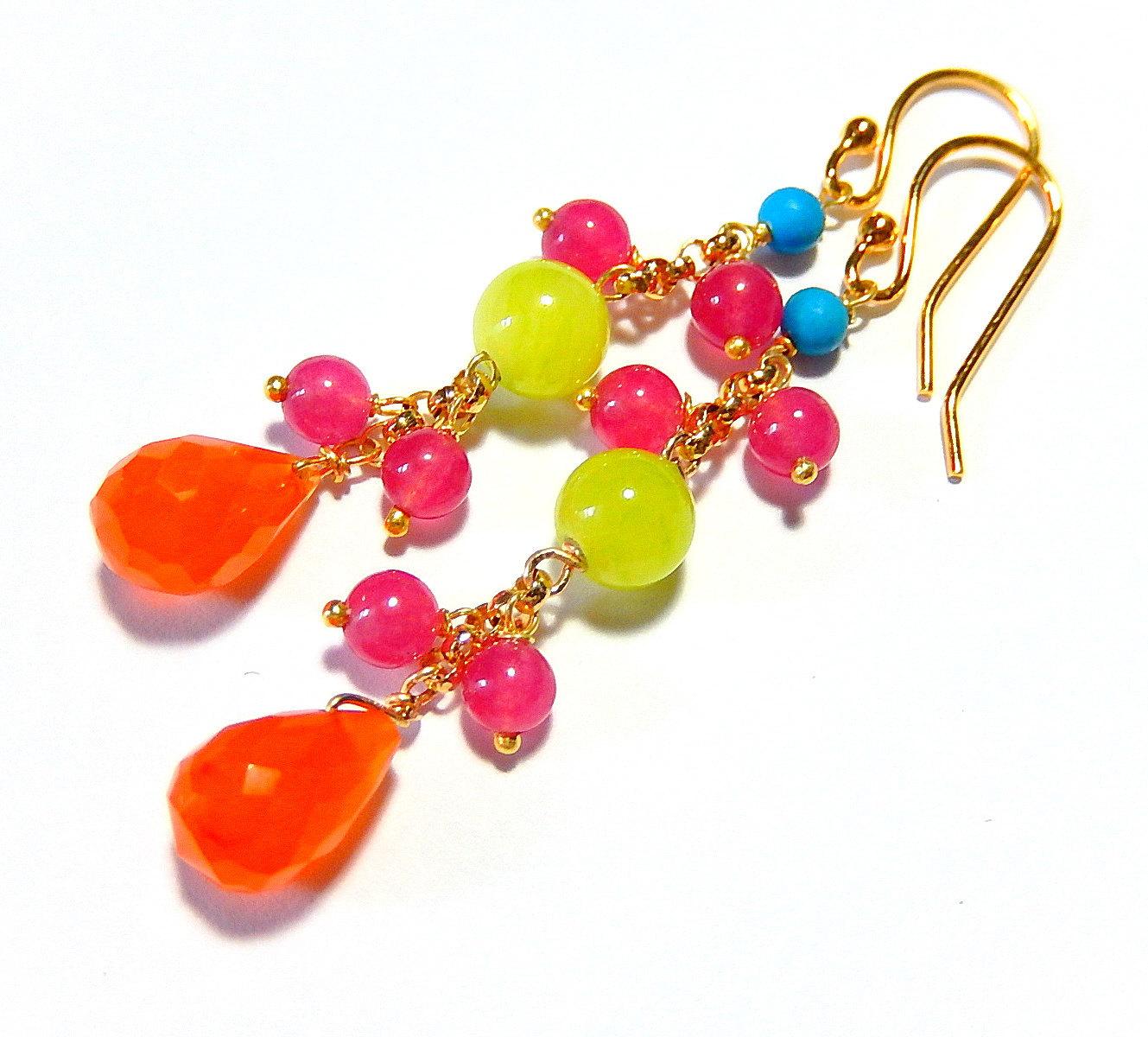 Neon Drop Earrings, Carnelian Teardrops, Hot Pink, Orange Colorful Gold Jewelry - $32.00