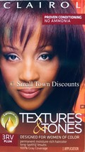 Clairol Textures & Tones Permanent Hair Color # 3RV Plum 100% Gray Coverage - $8.97