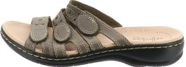 Clarks Bendables Leisa Cacti Leather Triple Strap Slides Olive 10M NEW A251816 - $77.20