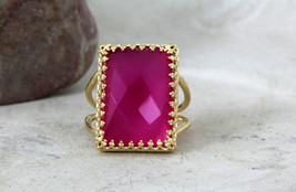 Dark pink Chalcedony ring,Large rectangular ring,14k gold filled ring - $64.00+