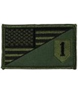 ARMY 1ST INFANTRY OD GREEN FLAG 2 X 3  EMBROIDERED PATCH WITH HOOK LOOP  - $18.04