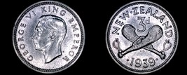 1939 New Zealand 3 Pence World Silver Coin - George VI - $29.99
