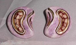 VTG Gold Tone Purple Resin Polymer Clay Crescent Artist Clip Earrings - $5.94