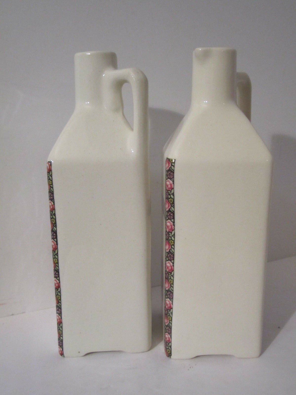 Vintage Art Nouveau Flowered Oil and Vinegar Cruets Made in Czechoslovakia image 5
