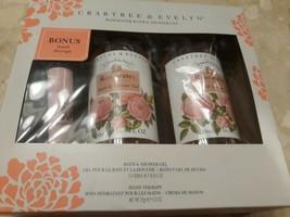 Crabtree & Evelyn Rosewater Bath Shower Gel 2 Pack  Bonus Hand Therapy 2x500ml - $68.45