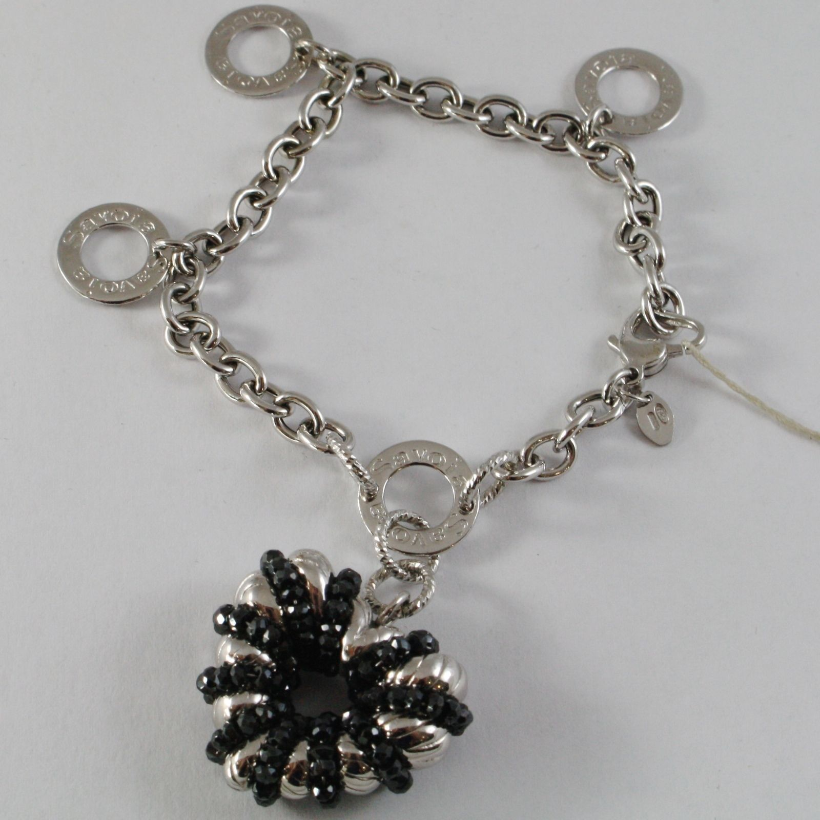 925 SILVER BRACELET, ROLO' WITH HEART PENDANT MILLED AND SPINEL BLACK, CIRCLES