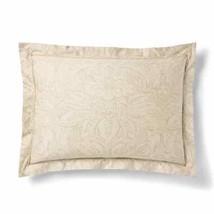 $130 RALPH LAUREN Home KING Pillow SHAM Fleur du Roi TAN / GOLD Cotton - $99.97