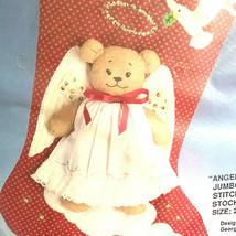 Bucilla Christmas Angel Bear Jumbo Quilted Stitchery Stocking Georgis Bell - $23.76