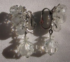 MARVELLA DANGLE CLIP ON EARRINGS FACETED MILKY and CLEAR CRYSTAL CLUSTER... - $9.49