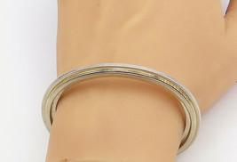 925 Sterling Silver - Vintage Shiny Smooth Modernist Cuff Bracelet - B8244 - $145.44