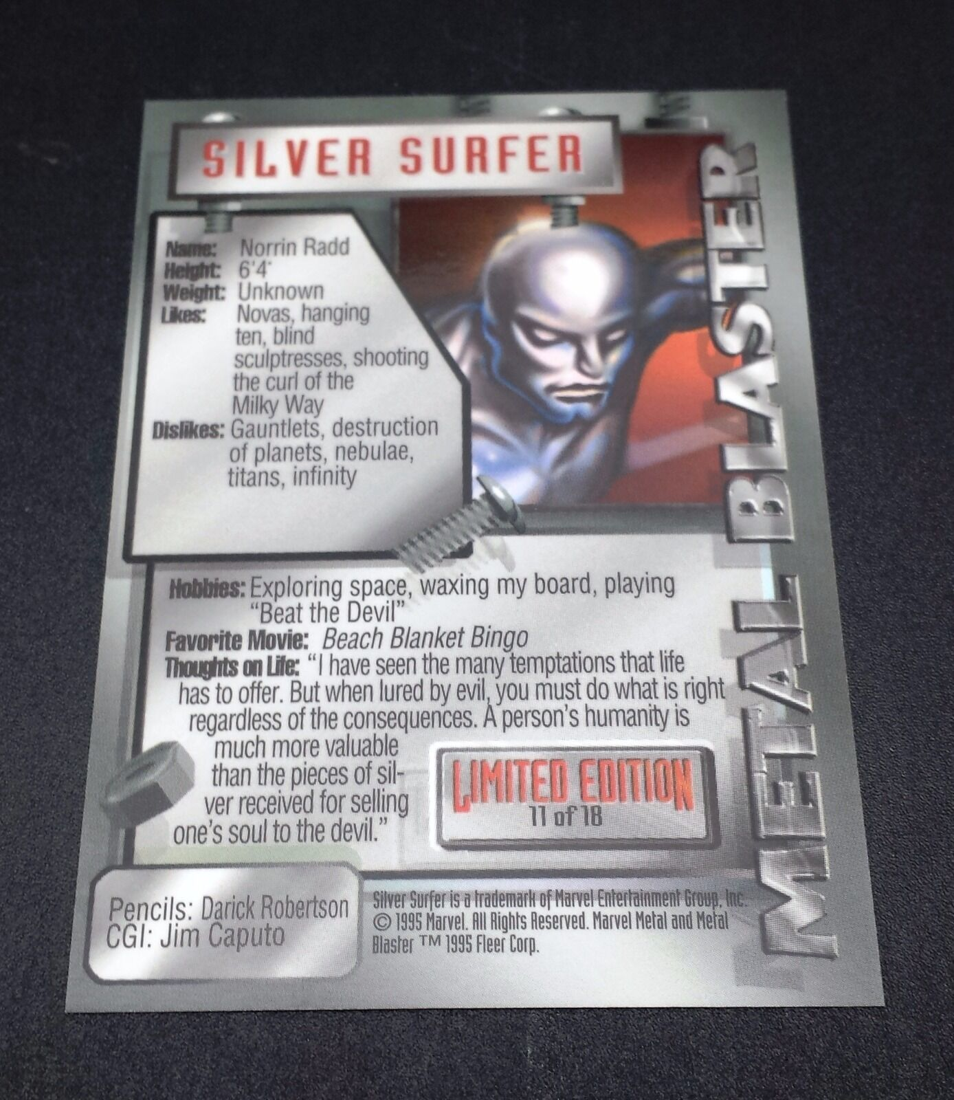 Fleer 1995 Marvel Metal Blaster Subset Chase Card #11 of 18 Silver Surfer