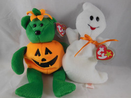 Ty Beanie Babies TRICKY Bear Pumpkin + SPOOKY Ghost Mint w covered tags ... - $9.94